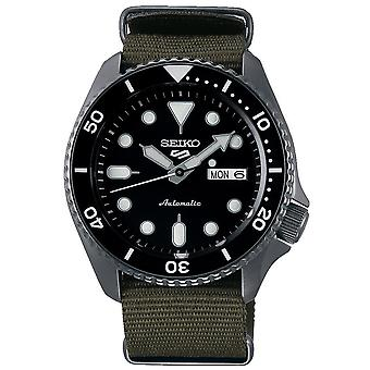 Seiko 5 Sports Black Dial Khaki Green Canvas Strap Automatic Men's Watch SRPD65K4