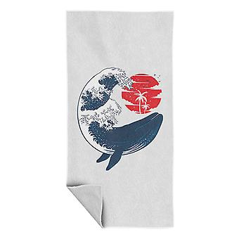Whale Wave Kosukai Style Beach Towel