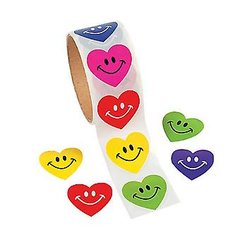 Roll of 100 Smiling Heart Stickers for Kids Crafts | Childrens Craft Stickers