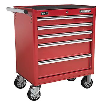 Sealey Ap33459 Rollcab 5 Drawer With Ball Bearing Runners - Red