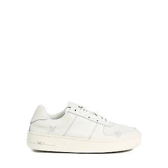 424 0077wht Men's White Leather Sneakers