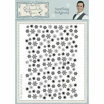 Phill Martin A6 Umount Rubber Stamp – Christmas Snowflakes Background