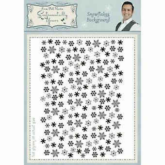 Phill Martin A6 Umount Rubber Stamp - Kerst sneeuwvlokken Achtergrond