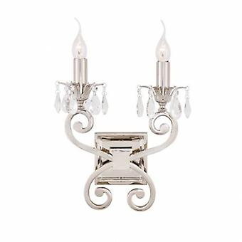 2 Light Indoor Twin Candle Wall Light Polished Nickel Plate