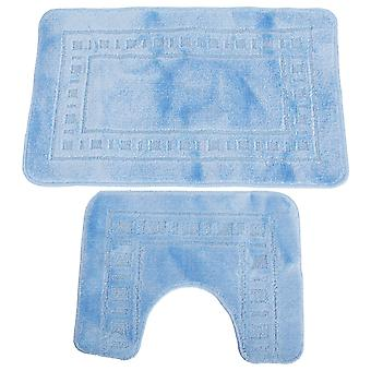 2 Piece Square & Rectangle Design Bath Mat And Pedestal Mat Set