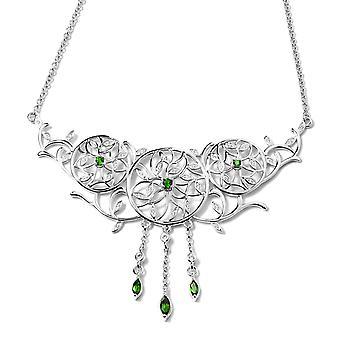 "Diopside Silver Leaf Vine Dream Catcher Necklace for Women, Zircon 20"", 1.27 Ct"