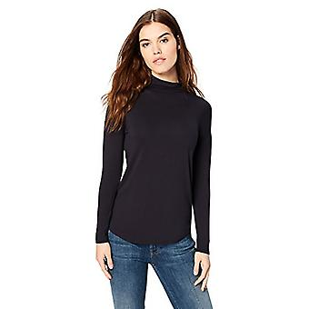 Brand - Daily Ritual Women's Jersey Long-Sleeve Funnel-Neck Shirt, Nav...