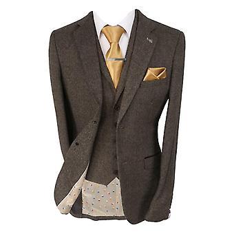 Men's Martez Brown Slim Fit Herringbone Tweed Suit