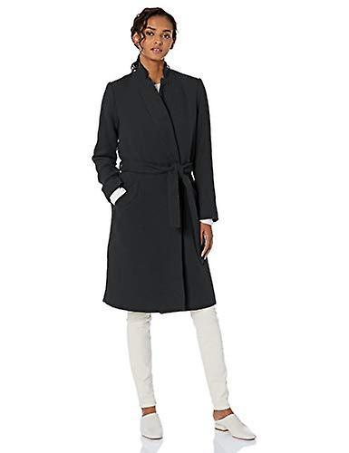 Brand - Daily Ritual Women's Wool Blend Belted Coat, Black Herringbone 8
