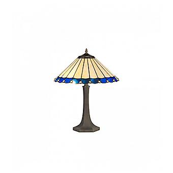 Calais 2 Light Octagonal Table Lamp E27 With 40cm Tiffany Shade, Blue/c/crystal/aged Antique Brass