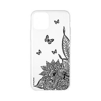 Romp voor iPhone 11 Zachte Mandala bloem en zwarte vlinder