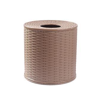 Plastic Imitation Rattan  Round Paper Case Dark Brown