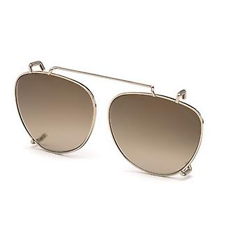 Tom Ford TF5513 Clip-On 28G Shiny Rose Gold/Brown Mirror Sunglasses
