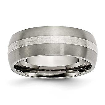 Titanium 925 Sterling Silver Engravable Inlay 8mm Brushed Band Jewelry Gifts for Women - Ring Size: 7 to 14