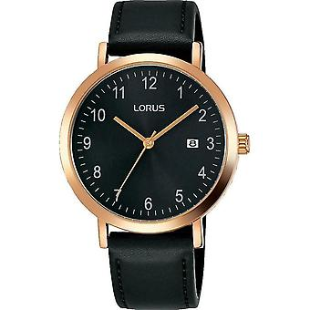 Lorus Mens Rose Gold Plated Case Dress Watch with Sunray Black Dial (RH938JX9)