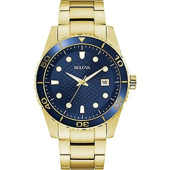 Bulova 98a197 Sport Navy Blue & Gold Stainless Steel Men's Watch