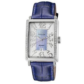 Gevril Kvinnor's 6207NE Glamour Automatisk Blue Diamond MOP Urtavla Datum Armbandsur