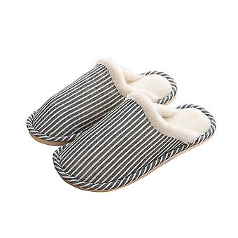 Thick  Comfortable Soft Warm Stripped Couple Slippers-male