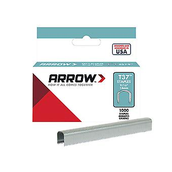 Arrow T37 Staples 12mm (1/2in) Box 1000 ARRT3712S