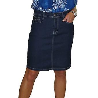 Women's Classic Stretch Denim Kjol Damer Slim Fit Ovanför knät kort penna Jeans Kjol Indigo Blå 8-20