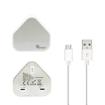 Single USB UK Huvudladdare Vit med USB-kabel