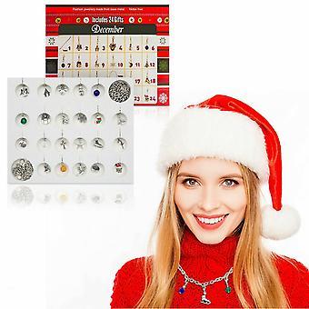 Advent Calendar, 24 Charms DIY Necklace Bracelet Set For Christmas