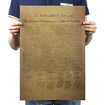 American Declaration Of Independence Vintage Kraft Paper Classic Movie Poster