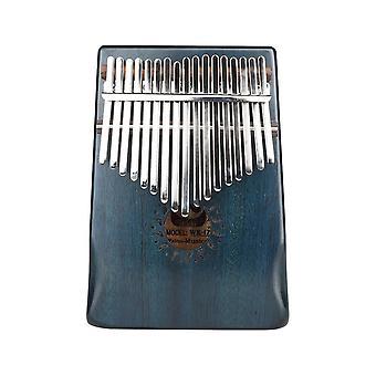 17 Key Thumb Piano Mahagoni Hand Guard Daumen Klavier für Anfänger dunkelblau