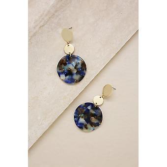 Resin Drop Circle Earrings In Blue & Gold