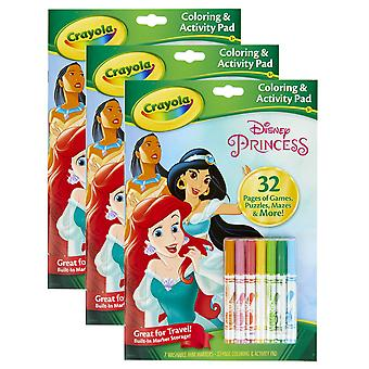 Almohadilla para colorear y actividades con marcadores, princesa Disney, paquete de 3
