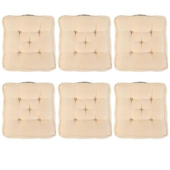 """Beige Pack of 6 Cotton Armchair Booster Cushion 4"""" Thick Seat Pad"""