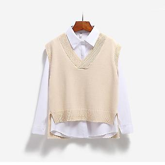 Vest Women Knitted V-neck, Loose Casual Style, Simple Side-slit, Asymmetrical