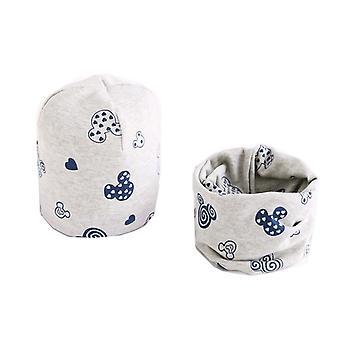 Plush Hat Scarf Set, Print Collar Cotton