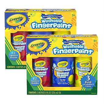 Washable Fingerpaint, Bold Colors, 8 Oz., 3 Per Pack, 2 Packs