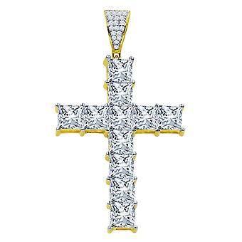 925 sterling silver tennis pendant - 6mm zirconia gold
