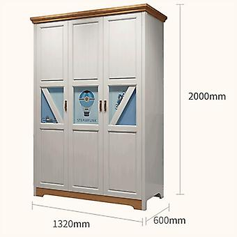 All Solid Wood Teenager Bedroom Wardrobe Nordic Modern 3-door Storage Cabinet