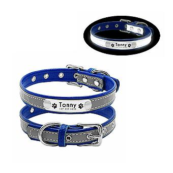 Reflective pu leather pet collar and tag