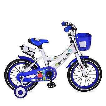 Byox Bicicleta para niños 14 pulgadas 1481 azul, ruedas de apoyo, botella, campana, cesta delantera