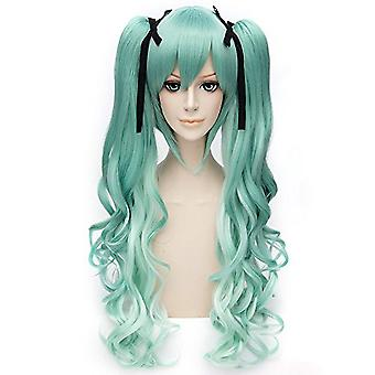 Anime Wigs With Ribbon Hatsune Miku Long Curl Synthetic Hair Wigs