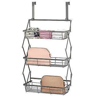 mDesign Modern Over Door Three Basket Valet Shelf Storage - Dark Gray