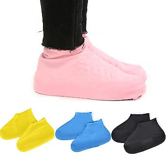 A pair of reusable waterproof latex rain and non slip covers for shoes.