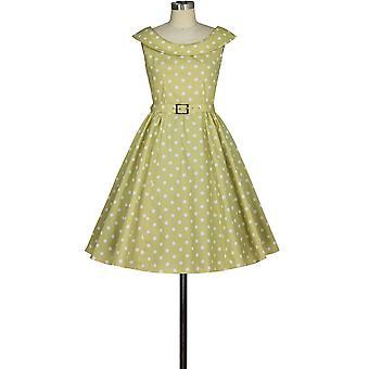 elegant stjerne pluss størrelse rund krage retro kjole i gule / prikker