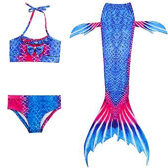 Merenneito tyttö uimapuku kolmiosainen bikini häntä uimiseen tscs-8