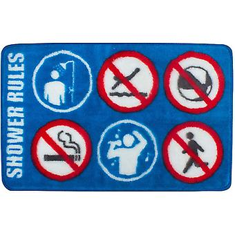 bath mat Shower Rules 75 x 46 cm acrylic blue