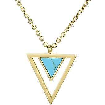 FengChun Damen Edelstahl Gold Halskette mit Anhnger im Samtbeutel