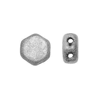 Czech Glass Honeycomb Beads, 2-Hole Hexagon 6mm, 30 Pieces, Etched Jet Full Labrador