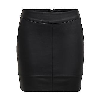 Solo minigonne in PU da donna 2 tasche zip chiusura fondo casual