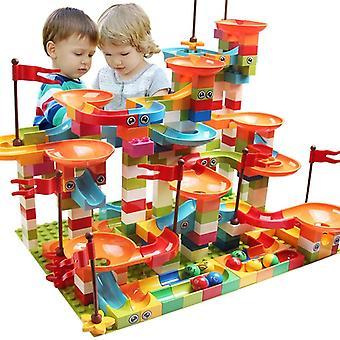 Ikä 7+ rakennuspalikat marmori kilpa ajaa kaupungin rakennuslohko lelut lapsille ja kilpa