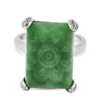 Grønn Jade, Zircon Statement Cocktail Ring for kvinner Sterling Sølv 100.08ct