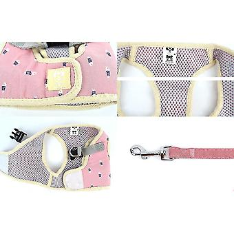 Xl rosa cão coleira de estimação quadrado peito de volta colete de pelúcia coleira x5079